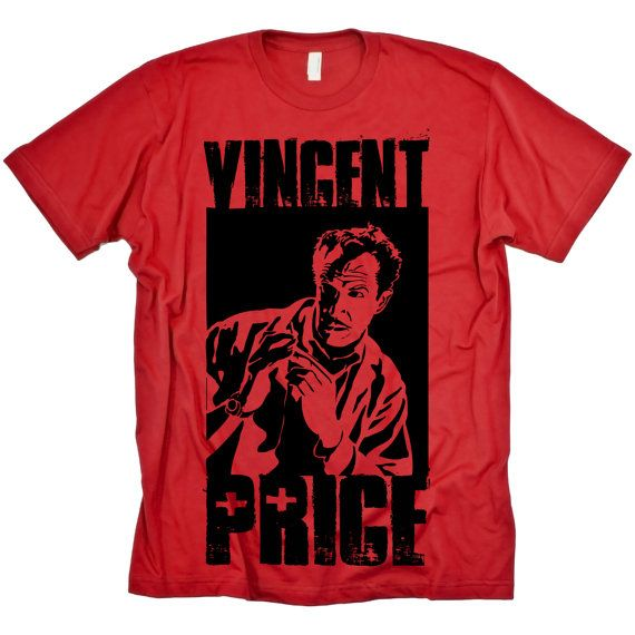 Horror Vincent Price on red WOMENS Tshirt by StrangeLandTees, $19.00