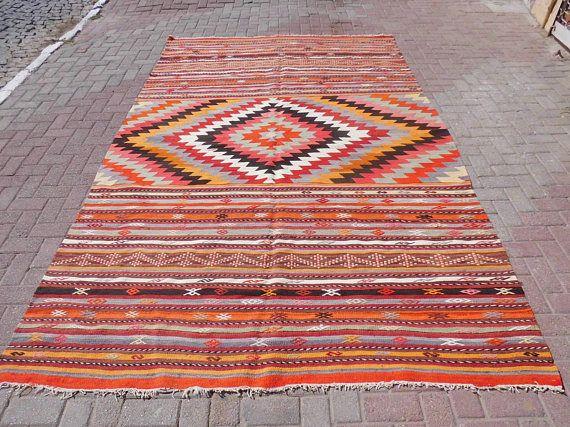 Turkish kilim rug vintage rug wool area rug large rug rug