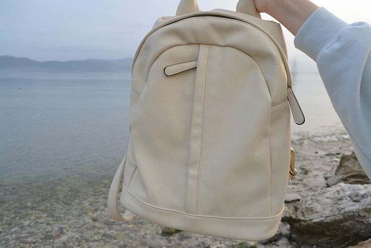 faux leather backpack in cream white