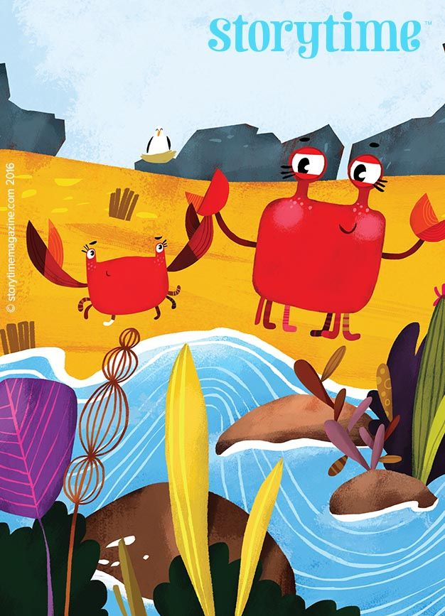 Funny crabs for a funny fable in Storytime Issue 24. Art by Zhanna Mendel (https://www.behance.net/ovocheva) ~ STORYTIMEMAGAZINE.COM