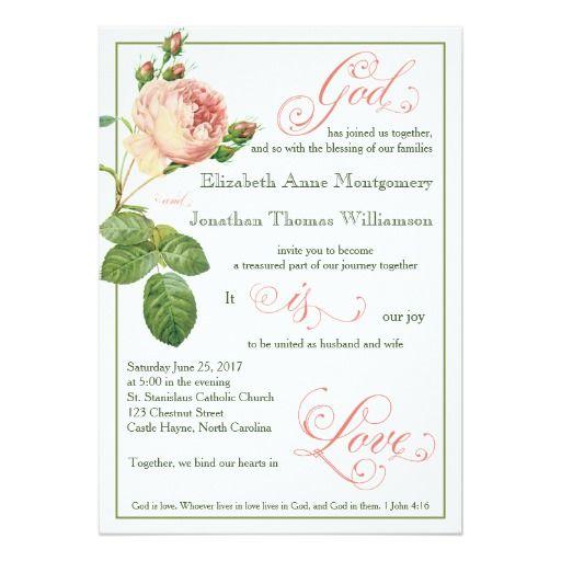 cabbage rose god is love wedding invitation - Catholic Wedding Invitations