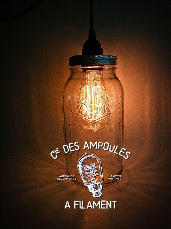 Ampoules à filament Edison/ Bocal Kilner #Luminaire #Edison #Ampoule #filament #vintage #rétro #déco #design #lampe #luminaire #Kilner
