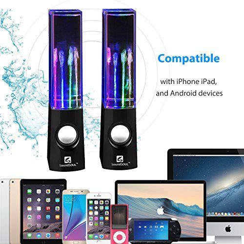 Todos los Nueva altavoz de agua compatible con iPhone y iPod; PC, Mac, MP3, MP4, MP5 y otros dispositivos de audio!Speciafication Tecnología de conectividad: con cables de audio Canales de salida: 2.0 RMSPotencia: 3WNúmero de conductores: 2Rango de frecuencia: 90 Hz ~ 1800HzLos requisitos de a... http://altavocespara.com/ordenador/logitech/soundsoul-mini-altavoces-de-agua-bailando-musical-amplificador-que-conectar-mediante-jack-de-35mm-y-sin-bateria-para-pc-moviles-tabletas