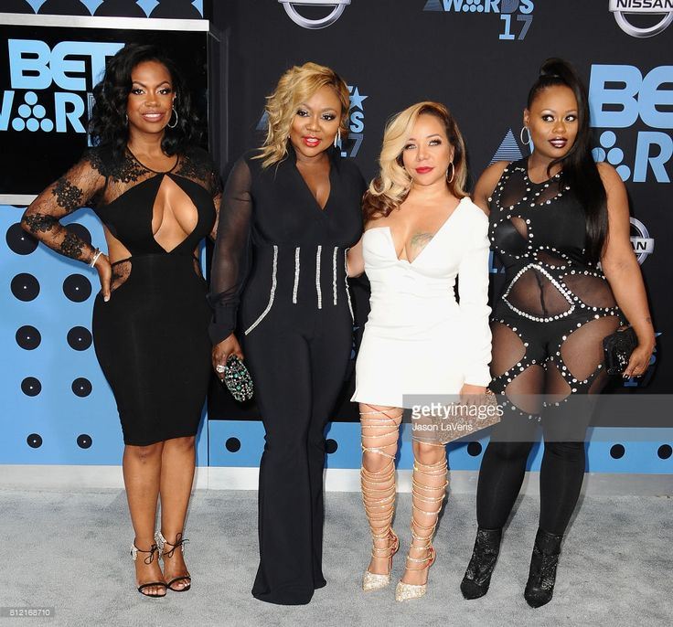 Kandi Burruss, LaTocha Scott, Tameka 'Tiny' Cottle, and Tamika Scott of Xscape attend the 2017 BET Awards at Microsoft Theater on June 25, 2017 in Los Angeles, California.