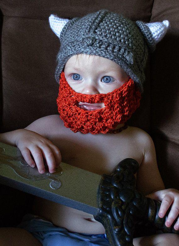 Vikingos cuerno sombrero del ganchillo de Los Niños de dibujos animados con Barba mascarilla, Gorritas Tejidas del bebé, apoyo de La Fotografía del recién nacido 100% algodón