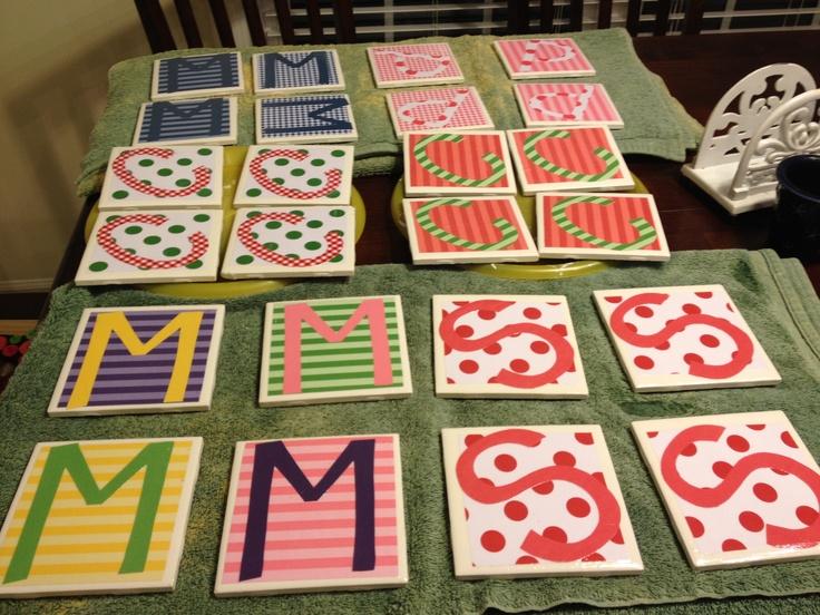 Ceramic Tile Scrapbook Paper Mod Podge Coasters This