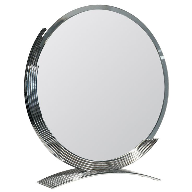 Round Art Deco Style Table Mirror With Chrome Base