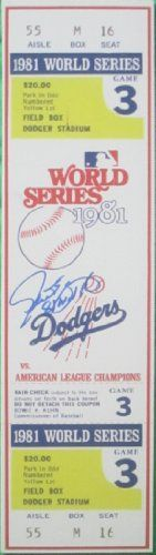 """Steve Yeager Autographed / Signed 1981 World Series Game 3 Mini Mega Ticket Featuring """"81 WS MVP"""" Inscription! Los Angeles Dodgers, Proof Photo"""