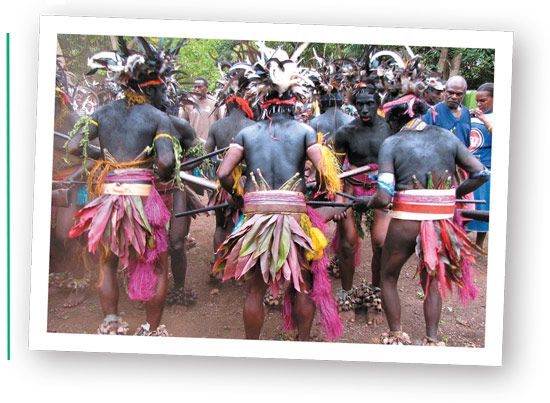 Local's in a colourful dance ceremony.