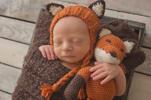 Fox Bonnet with Matching Toy Photography Prop - Original Design - Handmade - Crochet Fox - Animal Set - Newborn - Woodland Animal