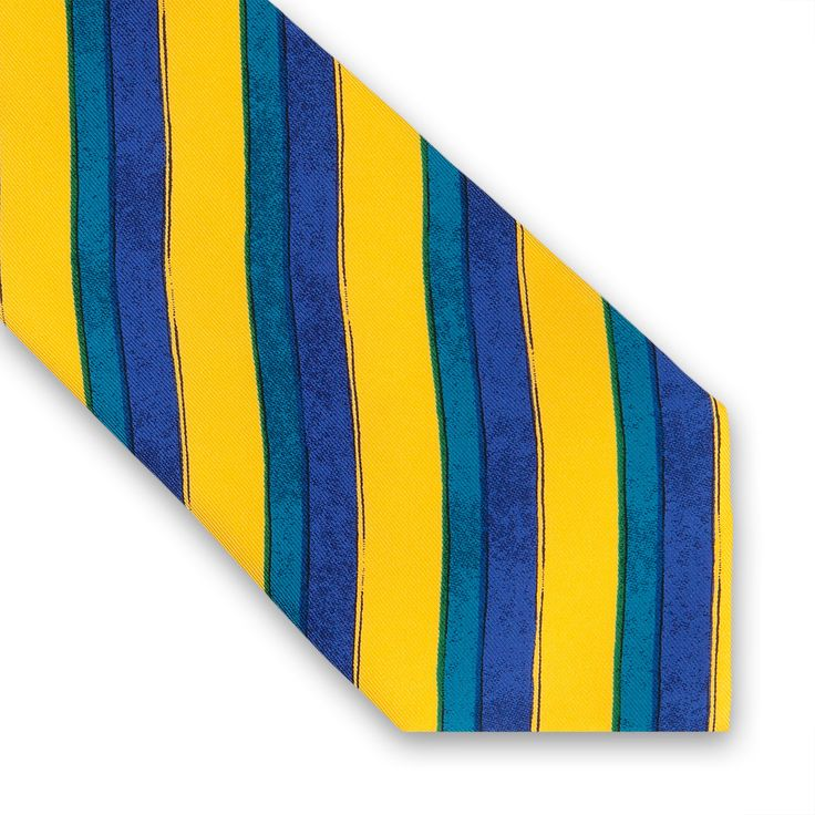 The #Handpainted #Stripe #Printed #Tie features a colourful stripe pattern in contrasting colours that will brighten up your shirts. #PrintTies #ThomasPink