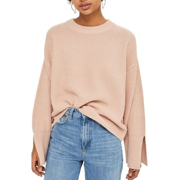 Women's Topshop Wide Sleeve Sweater (530 ZAR) ❤ liked on Polyvore featuring tops, sweaters, nude, slouchy tops, long sleeve tops, extra long sleeve sweater, pink top and sleeve sweater
