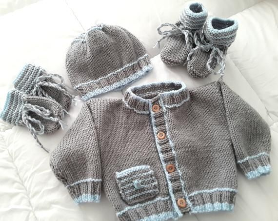 New Baby Cardigan,Hat Booties Mitten Set Hand Knitted 0-3 3-6 6-9 Months
