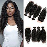 Amazon Angebote Deals DAIMER Brazilian Kinky Curly Lace Closure Frontal Mit 3 Bundles Weave Verl?ngerung Human Haare…Ihr Quickberater