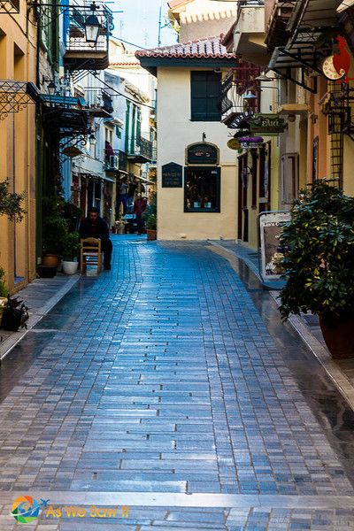 Pedestrian street in the ancient town of Nafplion, Greece