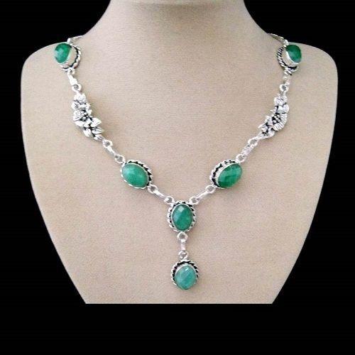 Indischer Smaragd, Blüte, Halskette, Collier, Silber plattiert in Uhren & Schmuck, Modeschmuck, Halsketten & Anhänger | eBay!