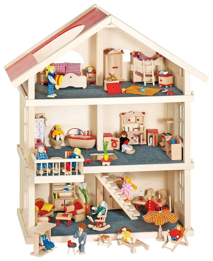 Goki 51957 - Puppenhaus 3 Etagen: Amazon.de: Spielzeug