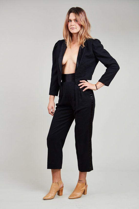 1970s Joseph Magnin Black Wool Cropped Tux Suit S