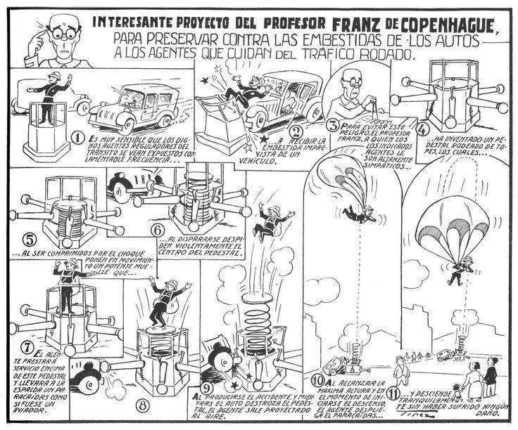 """Ramón Sabatés i Massanell (1915 -  2003) historietista del TBO conocido por la sección. Profesor Franz de Copenhague. """"Los grandes inventos del TBO""""."""