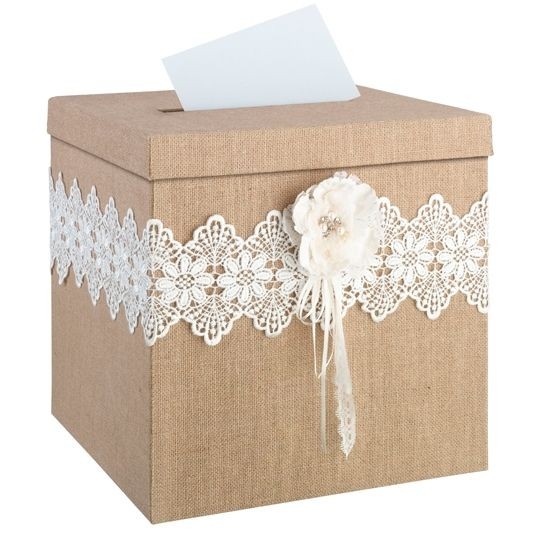 Burlap and Lace Rustic Card Box