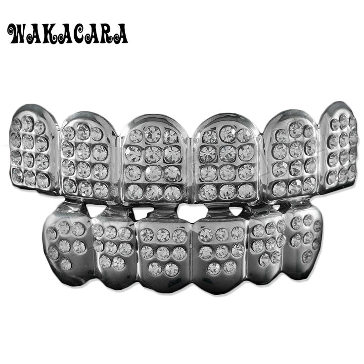 WAKACARA 6 Silver Teeth GRILLZ Top Bottom ICED OUT CZ Tooth Caps Grill HipHop Bling with free Silicone mode