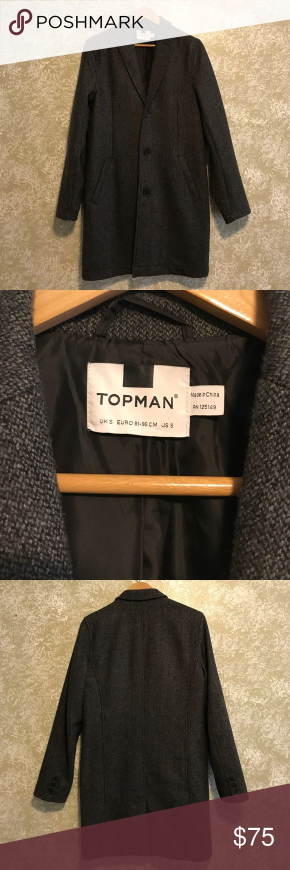 Topman Overcoat Topman overcoat in charcoal color way; purchased at Nordstrom last year and used once or twice. In pristine condition, tons of life left. Topman Jackets & Coats
