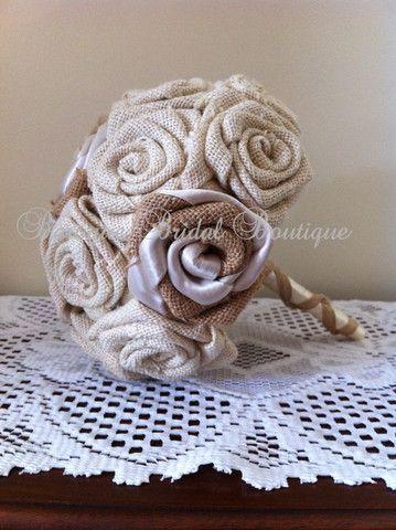 Bridesmaid Hessian Bouquet or Small Bride Posy – Baroque Bridal Boutique