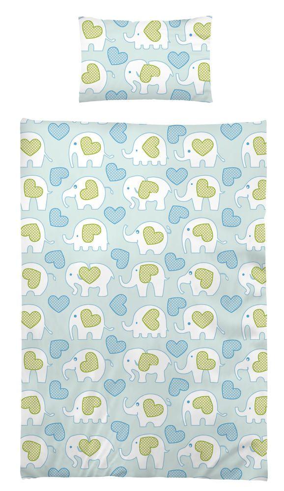 Bettwäsche 100x135 cm Baumwolle Kinder Elefant Herzen Herz bunt blau grün bunt
