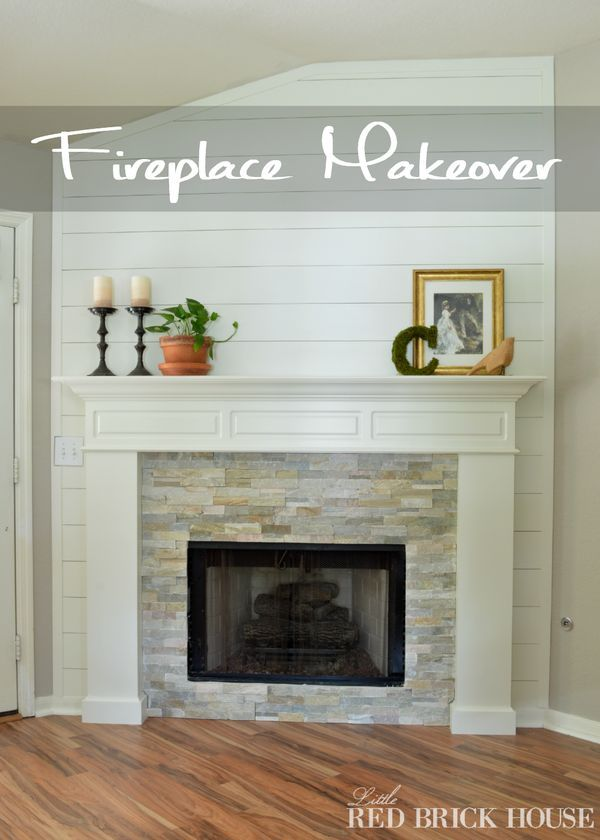 A wood planked wall makes a beautiful statement in my first fireplace makeover. - Little Red Brick House