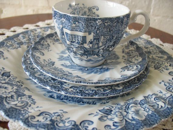 Vintage Ironstone Johnson Bros. Tableware Set - Plate - Dessert Plate - Teacup and Saucer - Ironstone.