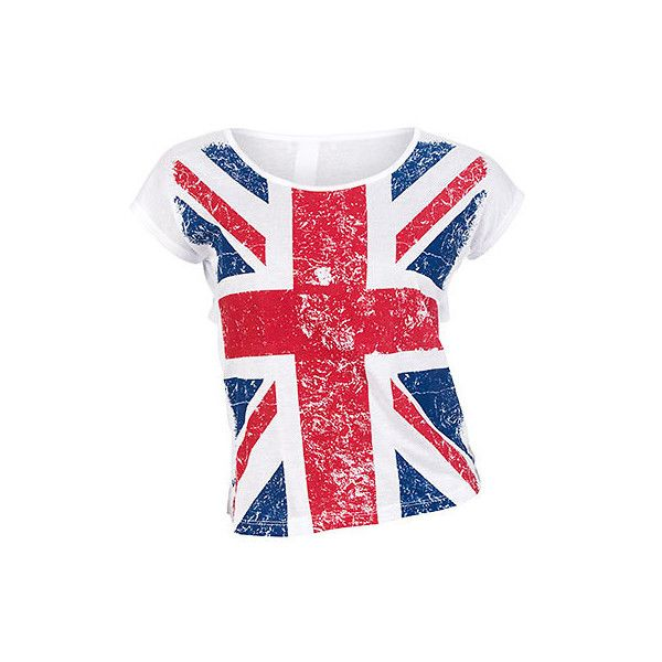 BRITISH FLAG TEE ($20) ❤ liked on Polyvore featuring tops, t-shirts, shirts, blusas, union jack t shirt, uk flag shirt, tee-shirt, t shirt and union jack top