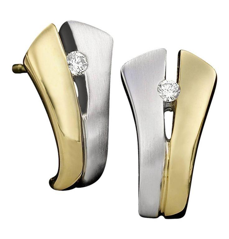 Moncara Diamant-Ohrstecker Bicolor Gold 375