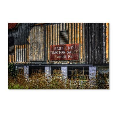 """Trademark Art """"East End Tractor Sales"""" by Lois Bryan Photographic Print on Wrapped Canvas Size: 22"""" H x 32"""" W x 2"""" D"""
