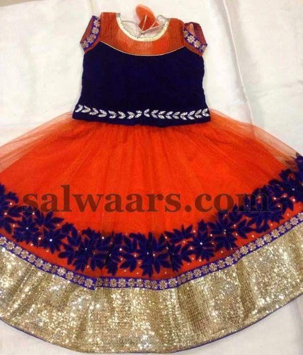 Orange Blue Net Thread Work Skirt - Indian Dresses