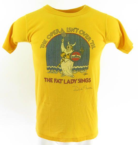 Vintage 80s Washington Bullets T-Shirt Mens L NBA Basketball Fat Lady Sings [H60E_0-6]