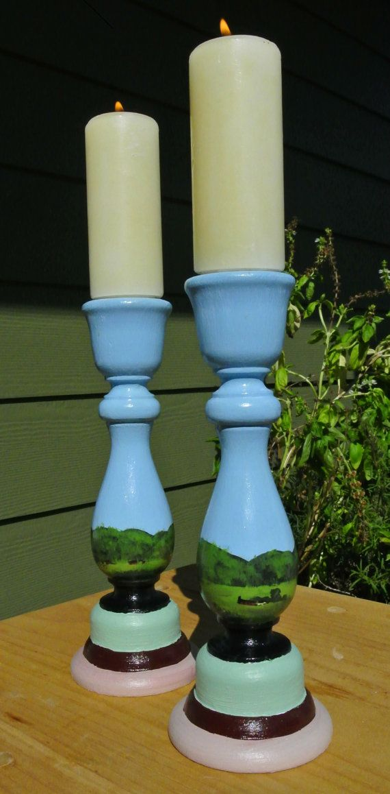 Vermont Inspired Handpainted Wooden Candlesticks by PapierOpia $18.00 & 57 best Candle sticks and offering plates images on Pinterest ...