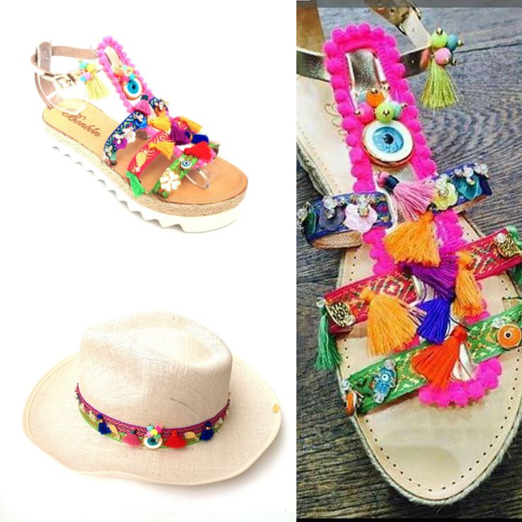 When BohoStyle meets BonbonSandals!! Roxanne model with ponpons and lucky eyes!! All you need for Summer!! Enjoy now Summer collection 2016!! #bonbonsandals #roxanne #boho #bohostyle #flatform #ponpons #newsummercollection #summer2016 #luckyeye #hat #sandal