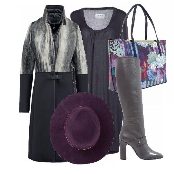 Un look sobrio formato da vestito, cappotto e stivali grigi reso interessante da una borsa multicolor e un cappello a tesa larga viola! Perfetto per l'ufficio o un'uscita con le amiche