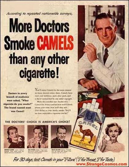 1950's advertisements - cigarette ads were the norm - The Marlboro Man was always a hunk!