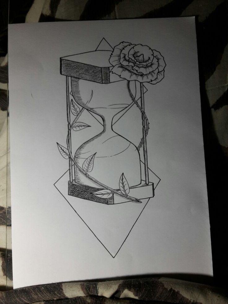 #Tattoo #RelojDeArena #Reloj #Arena #Rosas... 0321