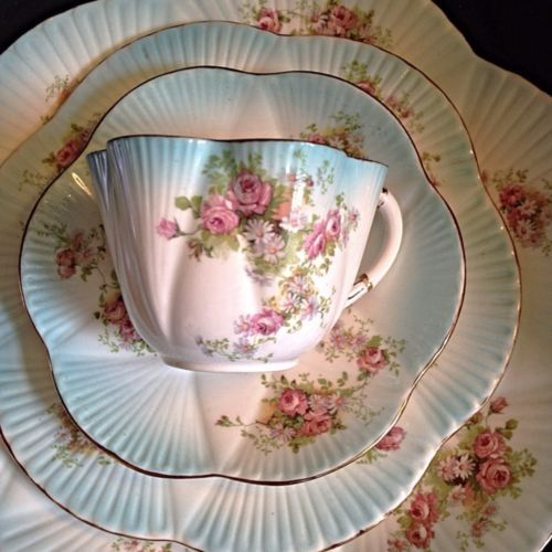 Wileman Foley - pre Shelley Dainty Victorian Blue and white Tea Cup Saucer Side Plate trio with roses