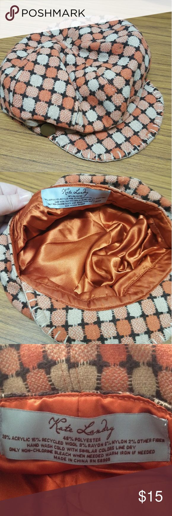 Kate Landry Page Boy Hat Perfect for spicing up your outfit with a little vintage flair. It's orange with dark brown and light brown. Lightly worn, excellent condition. Kate Landry Accessories Hats