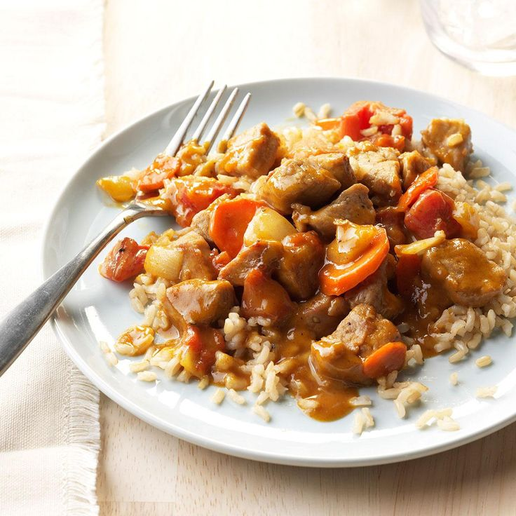 Peanut Butter Pork Curry Recipe -For an anniversary with my boyfriend, I cooked pork Asian style with peanut, coconut and curry flavors. Bonus: The butcher cubed the pork for me to save time. —Angela Robinson, Findlay, Ohio