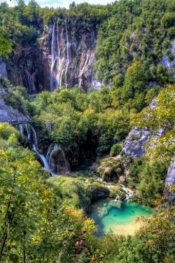 Plitvice Lakes National Park, Croatia The Plitvice Lakes have formed in a depression between the Mala Kapela mountain in the west and the Plješevica mountain in the east amidst the Dinaric Alps. The national park is located at the national route D1 Zagreb–Split between Slunj and Korenica in the vicinity of Bosnia and Herzegovina.
