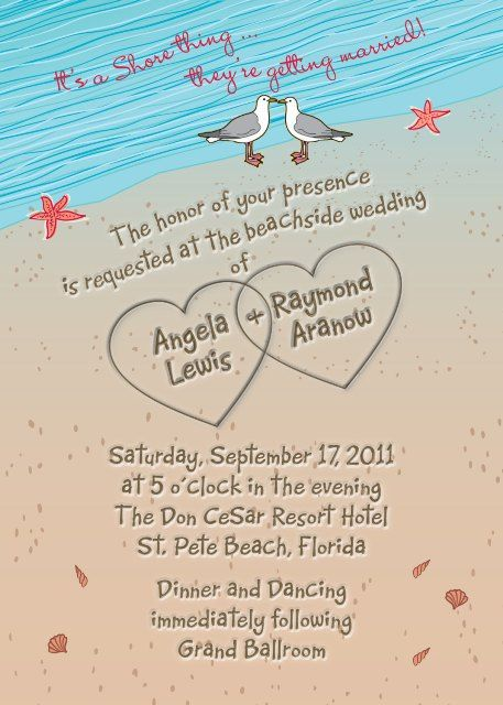 Items Similar To SAMPLE Beach Wedding Invitation With Hearts In Sand  Seagulls And Seashells Aqua On Etsy