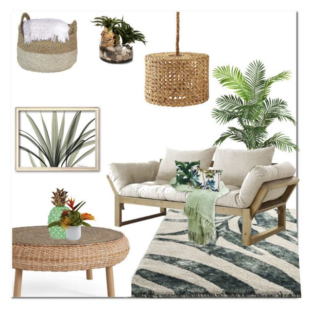 """""""Tropical minimalist"""" by rachelbarkhodesigns ❤ liked on Polyvore featuring interior, interiors, interior design, home, home decor, interior decorating, Nearly Natural, Pottery Barn, Fresh Futon and Serena & Lily"""