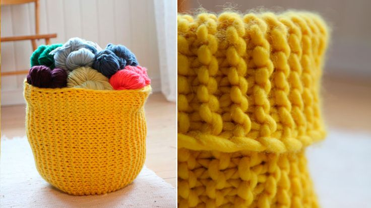 Knitting Basket Yarn : Images about knitted baskets bowls on pinterest