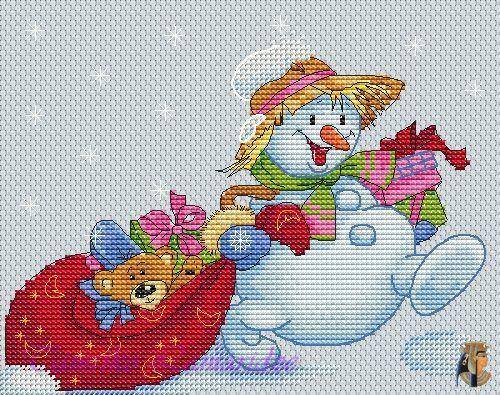 Gallery.ru / Снеговик с мешком подарков - Схемы для сайта ВКонтакте - tamriko-lamara