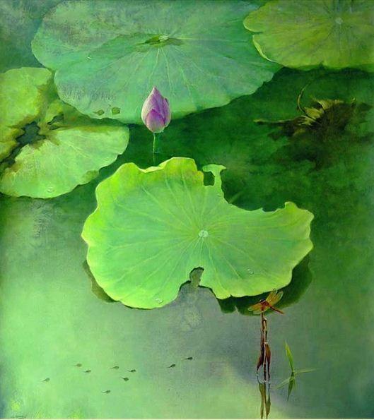 Jiang Debin. Цветы акварелью. Watching . 110х100