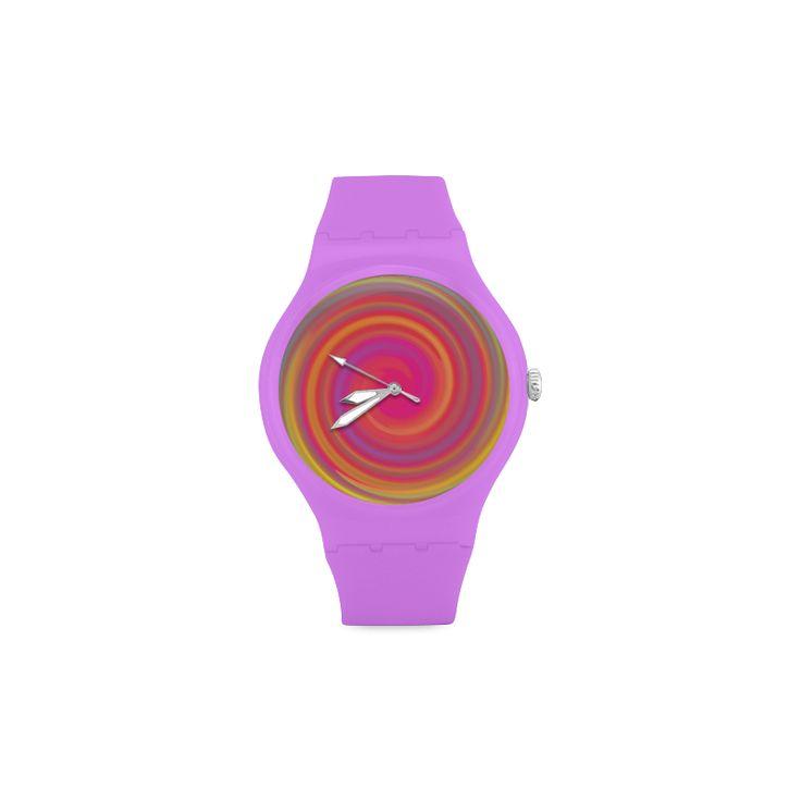 Rainbow Swirls Unisex Round Rubber Sport Watch(Model 303)